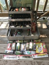 Vintage Aluminum Tackle Box with Vintage Lures & Reels-some Modern lures in Fort Polk, Louisiana
