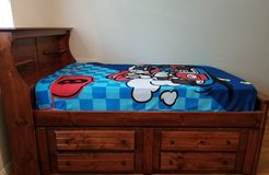 Bed -full size captain's bed set with built in drawers and a desk in Kingwood, Texas