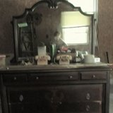 Early 20th century dark wood dresser in DeKalb, Illinois