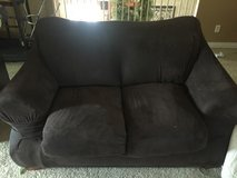 Leather Brown Loveseat with brown suede cover in Houston, Texas