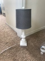white wooden lamp with gray shade in Beaufort, South Carolina