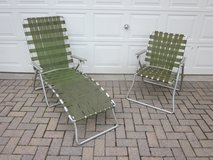 Aluminum Folding Chair & Chaise Lounge Set of 2 Olive Green 1960s 1970 in Glendale Heights, Illinois