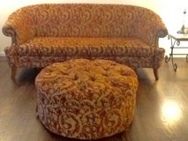 Red and Gold Couch with Ottoman in Plainfield, Illinois