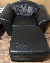 Black leather chair & ottoman (is a set with couch) in Joliet, Illinois