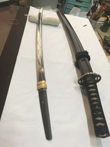Muromachi Era  O-Wakizashi short  sword  54.3 cm Length in Elegant Brown Pine Needle design Kosh... in Okinawa, Japan