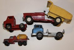 4 Vintage metal toy trucks Tonka Marx Hubley Tootsie Toy dump truck cement truck in Aurora, Illinois