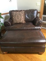 one person leather chair with ottoman in Yorkville, Illinois