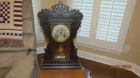 Antique Wooden Kitchen Mantle Pendulum Clock with Key in Byron, Georgia