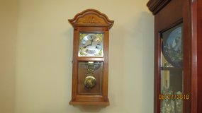 Vintage Wooden Wall Clock with Pendulum and Key in Warner Robins, Georgia