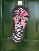 Zebra Flip Flop Door Hanger/Wreath in Naperville, Illinois