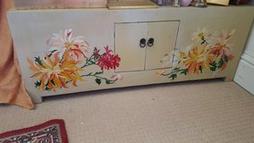 LOW CHINESE/INDIAN CUPBOARD TABLE BENCH SEAT boat or house HAND PAINTED yellow & floral in Lakenheath, UK