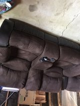 Threepiece sectional recliner microfibre couch. in Temecula, California
