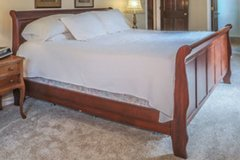 King Sleigh Bed Frame Cherry Wood in Elgin, Illinois