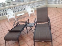 Table and two lounge Chairs in Okinawa, Japan