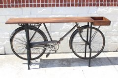 Atlas bike Side Table / wood / metal/ great condition in Houston, Texas