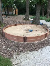 10-ft x 10-ft Brown Round Composite Sandbox in Tinley Park, Illinois