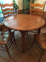 Solid Oak Dining Room Table & Chairs in Bolingbrook, Illinois