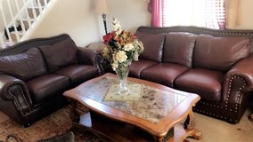 2pcs leather couches set as is. in Joliet, Illinois