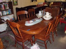 Oak Oval Table With Ball/Claw Feet and Six Chairs in Fort Riley, Kansas