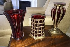 3 Pieces Of Red Decorative Glassware in Spring, Texas