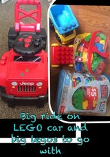 ride on car and big LEGO's in Lake Elsinore, California