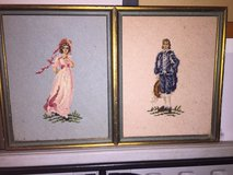 Blue Boy and Pinkie framed needle point in Fort Campbell, Kentucky
