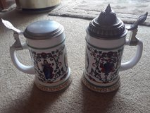 Vintage Rein Zinn BMF German Porcelain Lidded Beer Stein x2 in Palatine, Illinois