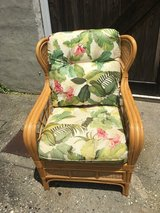 Tropical Rattan Wingback Chair W/ Floral Cushions in Wilmington, North Carolina
