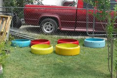Reclaimed tire dog beds /planters in Alamogordo, New Mexico