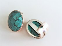 Vintage Sterling Silver Faceted Cabochon Turquoise Clip On Earrings in Converse, Texas