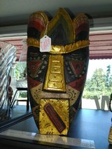 Hand crafted wooden mask in Fort Lewis, Washington