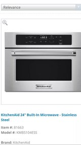 """High End Appliance KitchenAid 24"""" Built in Microwave Stainless Steel - $400 in Kingwood, Texas"""