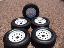 Maxim RV Trailer Tires and Rims all 5 one money(REDUCED) in Alamogordo, New Mexico