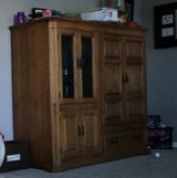 Pecan wood entertainment center in New Lenox, Illinois