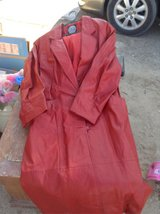 women's red leather trench coat in 29 Palms, California