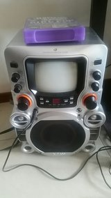 CD GRAPHICS KARAOKE PLAYER X-BASS WITH HANDLES AND MICRPHONE HOLDER in Okinawa, Japan
