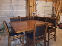 Counter height kitchen table with corner bench & stools in Plainfield, Illinois