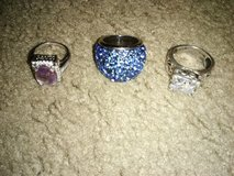 2 Real silver rings and one costume jewelry ring. in Beaufort, South Carolina