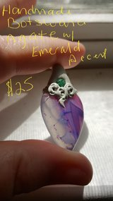 Botswana Agate pendant with Emerald in Beaufort, South Carolina