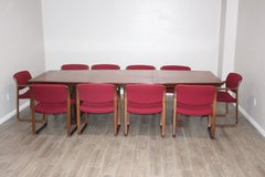 Conference Table, Solid Wood /10 Chairs Now Available in Tomball, Texas