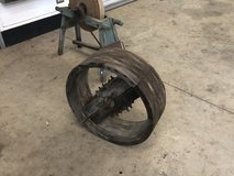 Grinding wheel and a belt drive wheel for sawmeal in Byron, Georgia
