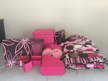 Pink & Brown Girls Twin Bed Comforter Set + Room Accessories in Orland Park, Illinois