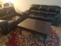 Leather living room set with coffee table!! in San Antonio, Texas