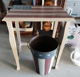 Americana Themed small table and metal basket in Vacaville, California