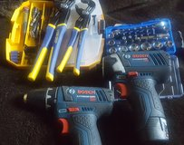 Bosch Lithium ion 12v impact driver with matching drill and misc bits and tool in Lawton, Oklahoma