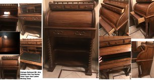 Vintage National Mt. Airy Cylinder Roll Top Secretary Writing Desk w/ Light Barley Twist Tiger Oak in Kingwood, Texas