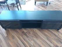 Reduced! Ikea TV Stand black brown with glass doors in Spangdahlem, Germany
