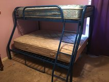 Full/Twin Blue Metal Bunk Bed in Kingwood, Texas