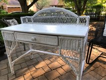 : ) WHITE WICKER VANITY / ENTRY DESK in Plainfield, Illinois