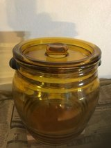 Gold Glass Barrel Shaped Cookie Jar in Orland Park, Illinois